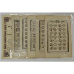 Early English Coin and Great Seals of England pages from old book (ca. 1700's),