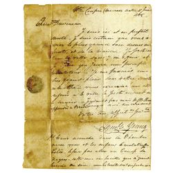 (Louisiana) Pointe Coupe, Pre-Louisiana Spanish Territory,folded letter datelined at Point Coupe, J