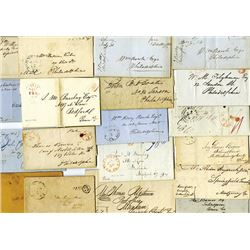 Stampless Cover Assortment, ca. 1820-1840's, from Pennsylvania, Iowa, Ohio and Virginia