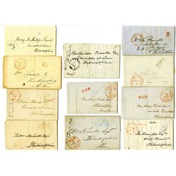 Stampless Cover Assortment, ca. 1820-1840's, from Washington, D.C., Pennsylvania, New York, and Mary