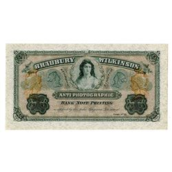 Bradbury Wilkinson & Co. Anti-Photographic Bank Note Printing Advertising Note.