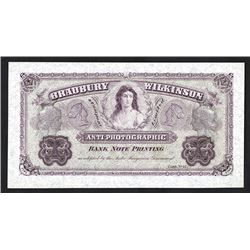 "Bradbury Wilkinson & Company, Limited, ND (ca.1860-1870's) ""Anti-Photographic"" Advertising Banknote."