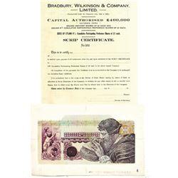 Bradbury Wilkinson Large Format 1978 Calendar Header Proof & 1923 Specimen Bond.