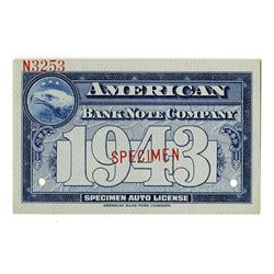 American Bank Note Company, 1943, Specimen Auto License