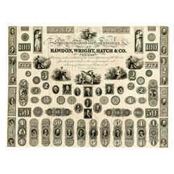 """Rawdon, Wright, Hatch & Co., """"Specimen of Bank Note Engraving:, ND, (ca.1820-30's) Proof Sample Shee"""