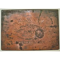 J. Hufty, Security Printer & Engraver, ca.1830-40's, Engraved Plate for T. Williams Advertising Copp
