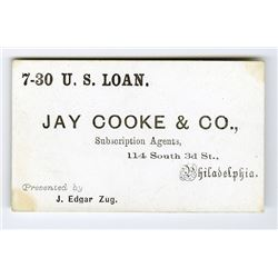 Jay Cooke & Co., 7-30 U.S. Loan Business Card, ca.1860-70's.