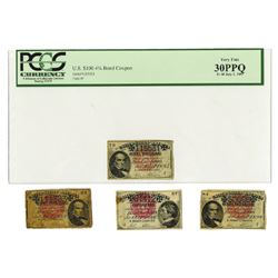 United States Treasury, 1883-1898, Quartet of Bond Coupons