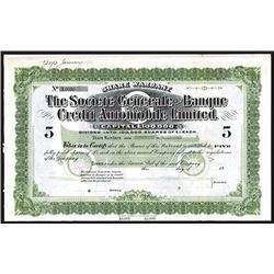 Societe Generale de Banque Credit Automobile Ltd. Ca. 1910-20 Specimen Share Certificate.