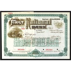 First National Bank of the City of Superior, Wisconsin, Charter No.3926, ca.1890's Specimen Stock Ce