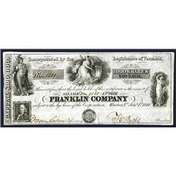 Franklin Company  Stock Certificate, 1846 Stock Certificate, Looks Like an Obsolete Banknote.