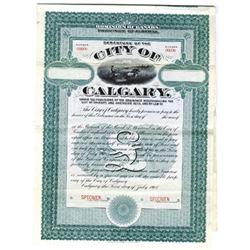 City of Calgary, 1908 Specimen Bond