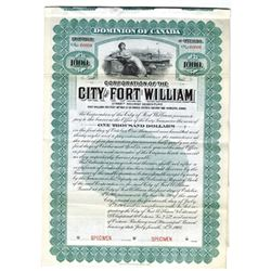 "City of Fort William, 1908 ""Street Railway"" Specimen Bond."