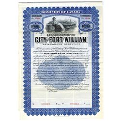 City of Fort William, 1909 Specimen Bond