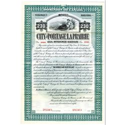 City of Portage La Prairie, 1908 Specimen Bond