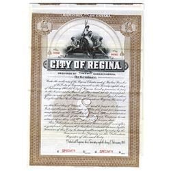 City of Regina, 1908 Specimen Bond