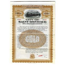 City of Saint Boniface, 1908 Specimen Bond