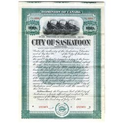 City of Saskatoon, 1908 Specimen Bond
