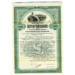 City of Vancouver, 1907 Specimen Bond