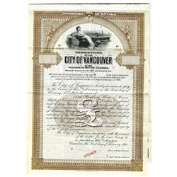 City of Vancouver, 1908 Specimen Bond
