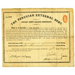 Peruvian External Debt., Chilean Assets Balance Certificate, 1893, £10,000 Pounds Sterling Bond.
