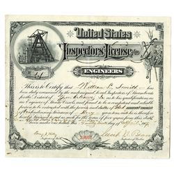 U.S. Inspectors' License to Engineers, 1909 Certificate for Steam Boat Operation.