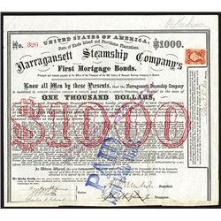 Narragansett Steamship Co., Issued Bond Signed by Civil War General Burnside as president.