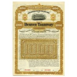 Denver Tramway Co. 1890 Specimen Bond.