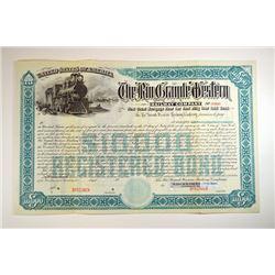 Rio Grande Western Railway Co., 1st Trust Mortgage  4% 50 Year Gold Registered Bond Specimen