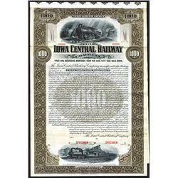 Iowa Central Railway Co., 1901, $1000 Specimen Bond.