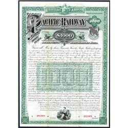 Pacific Railway Co., 1889, $1000 Specimen Bond.