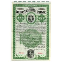 Detroit Electric Railway, 1896 Specimen Bond