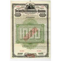 Saint Paul, Minneapolis and Manitoba Railway Co., 1883 Specimen Bond With Small Print Legend.