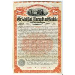 Saint Paul, Minneapolis and Manitoba Railway Co., 1890 Specimen Bond