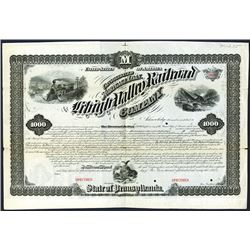 Lehigh Valley Railroad Co., 1873, $1000 Specimen Bond.