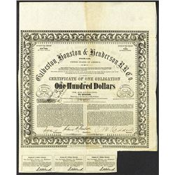 Galveston, Houston & Henderson Rail Road Co. 1857 Uncancelled Bond.
