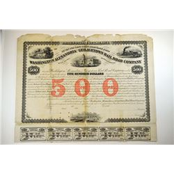 Washington , Alexandria and Georgetown Railroad Co. 1863 Unique Specimen Bond.
