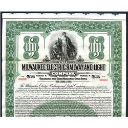 Milwaukee Electric Railway and Light Co., 1921, $1000 Specimen Bond.