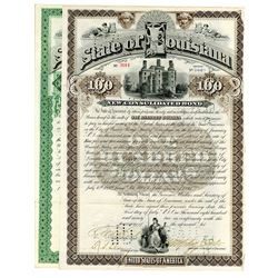 State of Louisiana. 1892 Issued Bond Pair.