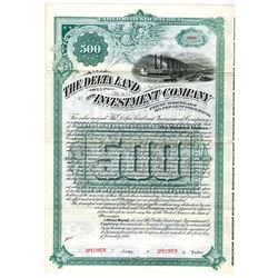 Delta Land and Investment Co., 1890 Specimen Bond