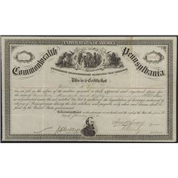 Commonwealth of Pennsylvania, 1872 Issued Bond Signed by John Geary, First Mayor of San Francisco an