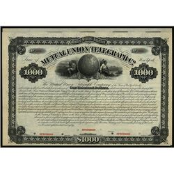 Mutual Union Telegraph Co., 1880 Specimen Bond.
