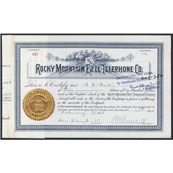 Rocky Mountain Bell Telephone Co. 1888 Issued Stock Certificate.