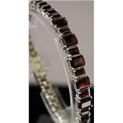 Fancy Sterling Silver Lab Garnet Bracelet. (8B)