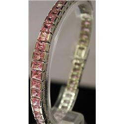 Stylish Sterling Silver Lab Pink Sapphire Bracelet. (11B)