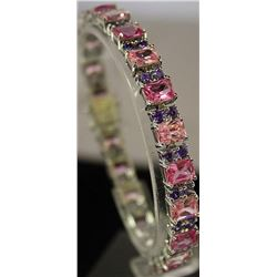 One of a kind Sterling Silver Lab Pink Sapphires & Tanzanites Bracelet. (12B)