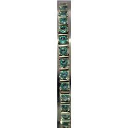 Fancy Sterling Silver Lab Topaz Bracelet. (14B)