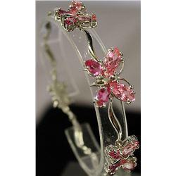 Very Fancy Sterling Silver Lab Pink Sapphire Bracelet. (16B)