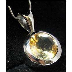 Beautiful Sterling Silver Lab Golden Citrine Pendant. (17B)