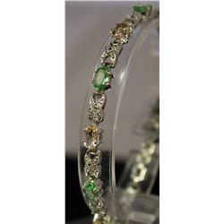 Fancy Sterling Silver Lab Multi Gem Stones Bracelet. (18B)
